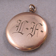Antique Locket Rose Gold Fill Monogrammed LA or LF Victorian 1880's