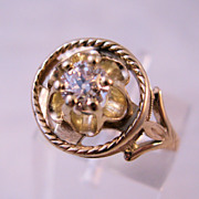 Edwardian 14K Diamond Ring 1/3 Ct Mine Cut Size 6 1/2 Wedding Engagement
