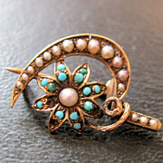 1800s Seed Pearl Persian Turquoise 14K Sickle & Flower Brooch