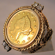 REDUCED 1904 2 1/2 Dollar Gold Coin Diamond Ring USA Liberty Head 22ct & 14K Size 5 1/2