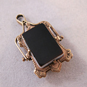 REDUCED 10K Rose Gold Locket Victorian Fob Hardstone Sardonyx Double Sided Pendant