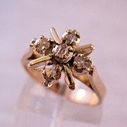 Estate Rose Cut Diamond 10K Gold Ring Size 6