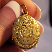 Victorian 14K Solid Gold Locket 1800's Star & Crescent Moon Engraved Design