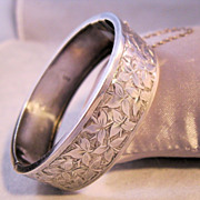 REDUCED 1885 Birmingham Sterling Bangle Bracelet Hinged Engraved Ivy English Antique William J