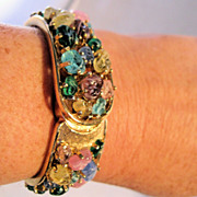 WINTON Jeweled Glass Watch Bracelet 17 Jewels Bangle Hinged