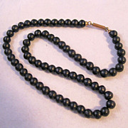 Antique Victorian Black Mourning Bead Necklace 1800s Barrel Clasp Strung on Chain
