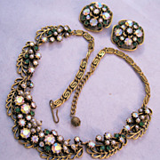 FLORENZA 1960s Necklace & Earrings Set Rhinestones Faux Pearls