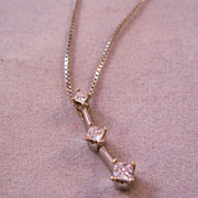 "REDUCED Estate 14K 3 Diamond Princess Cut Pendant & 10K 18"" Box Chain Necklace 1/4 ct"