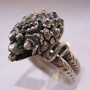 Chinese Snake Serpent Ring 900 Silver 1940s Size 8