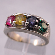 10K Mother's Ring White Gold Ruby Citrine Amethyst Emerald Size 5 1/2