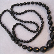 "1800s Gutta Percha Hand Faceted Graduated Bead Necklace 27"" Mourning Jewelry"