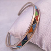 Zuni Inlaid Stone Cuff Sterling Bracelet 1970s Native American