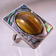 1970s MOD Tiger Eye Abalone Shell Sterling Silver Ring Big Size 9 1/2 Unisex