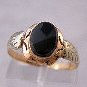 Victorian 10K Rose Gold Onyx Ring Two Tone Gold Mourning Jewelry Size 6 1/2