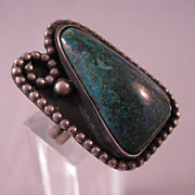 1960s Native American Turquoise Sterling Ring Size 6 Signed C.C.