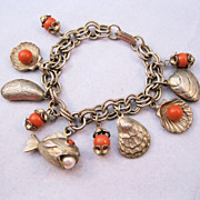 1960s Sea Shell Fish Ocean Theme Charm Bracelet Goldtone Faux Coral