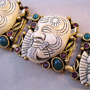 SELINI SELRO Bracelet Devil Warrior Noh Mask 1950s