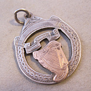 1926 Irish Hallmark Celtic Harp Fob Award Medal Pendant Sterling Silver Gold
