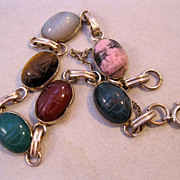 1960s Genuine Scarab Bracelet Gemstones Hand Carved 12K Gold Filled