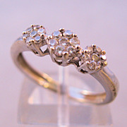 Vintage 14K Diamond Engagement Anniversary Ring Pave Set 3 Stone Size 7 1/4