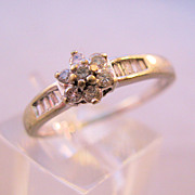 SALE Vintage 10K Diamond Engagement Anniversary Ring Baguette Pave Set Flower Cluster Size 6 3