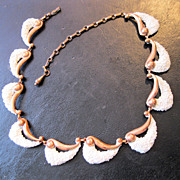 MATISSE RENOIR Copper White Sea Foam Necklace 1950s Mid Century Modern Modernist