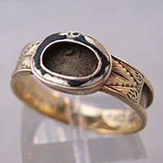 1868 9kt English Mourning Locket Ring Victorian Memorial