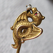 Art Nouveau Dragon 10K Seed Pearl Ruby Gold Stick Lapel Pin