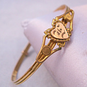 SOLD Victorian Heart Gold Filled Bangle Initial E Small or Child Size