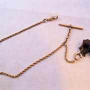 SOLD Edwardian Pocket Watch Chain with Carved Bear Fob & T Bar Rose Gold Filled