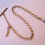 Edwardian 14K GF Pocket Watch Chain with T Bar Heavy Chain Sgd Sovereign
