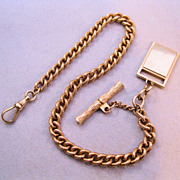 1960s Pocket Watch Chain with T Bar & Fob