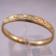 14K Wedding Ring Band Engraved Design Unisex Size 10 Estate