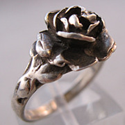Vintage Rose Sterling Silver Ring Size 6 1/2