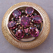 Victorian Pink Tourmaline 14K Yellow Gold Brooch Watch Pin Pendant