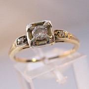 SALE PENDING 1920s Art Deco 14K .25ct Diamond Engagement Wedding Ring European Cut Size 6 1/2