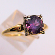 1930s JABEL Amethyst 14K Gold Ring Solitaire 1 1/4 ct Size 7 1/2