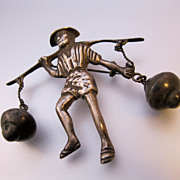 MEXICAN Silver 1930s Peasant Carrying Water Pots Dangle