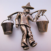 MEXICAN Silver 1930s Peasant Carrying Water Buckets Dangle