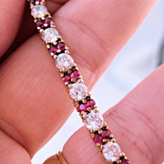 Estate Ruby & CZ Vermeil Sterling Tennis Bracelet