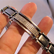 Mens Stainless Steel CZ Bracelet Estate