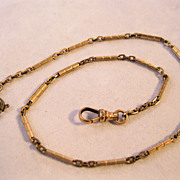 Edwardian Pocket Watch Chain Rolled Gold Plate 14&quot;