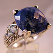 Sodalite CZ Sterling Silver RIng Size 8 Blue Cushion Cut Estate