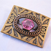 REDUCED 1800s Victorian Sash Pin Brooch Pink Faceted Stone Gilded Brass