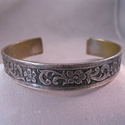 Edwardian Silver Plated Brass Cuff Bracelet Scrolled Flower Raised Design