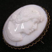 EDWARDIAN Cameo Brooch Milk Glass Pressed or Molded 1900s Steampunk