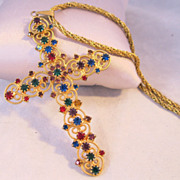 "1960s Jeweled Filigree Cross Pendant & Rope Chain 23"" Necklace"