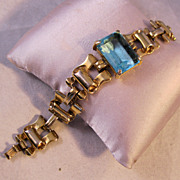 1950s Aquamarine Chunky Gold Link Bracelet Emerald Cut Glass