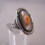 1900s Edwardian Ring Blister Pearl Sterling Silver Antique Size 5 1/2