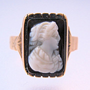 1800s 9K Cameo Rose Gold Ring Sardonyx Hard Stone Hand Carved Size 8